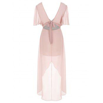 Maxi Robe Brodée en Mousseline - Rose XL