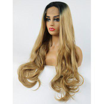 Long Free Part Wavy Colormix Lace Front Synthetic Wig - multicolor 24INCH