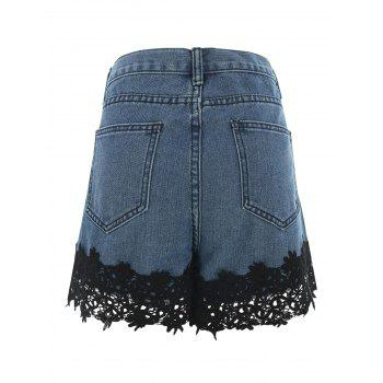 Ripped Lace Insert Jean Shorts - DENIM BLUE M