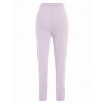 Lace Up Stretch Pants - MAUVE XL