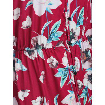 Button Up Floral Dress - RED L