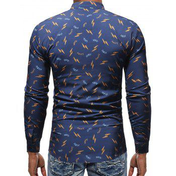 Casual Letter and Lightning Print Shirt - BLUE XL