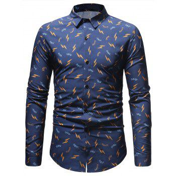 Casual Letter and Lightning Print Shirt - BLUE L