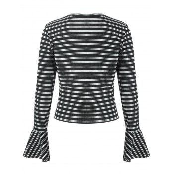 Stripe Flare Sleeve T-shirt - BLACK XL