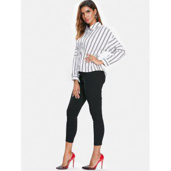 Asymmetrical Striped Shirt - WHITE S