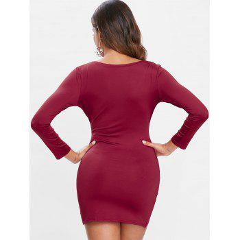 Long Sleeve Slim Fit Asymmetrical Dress - RED WINE M