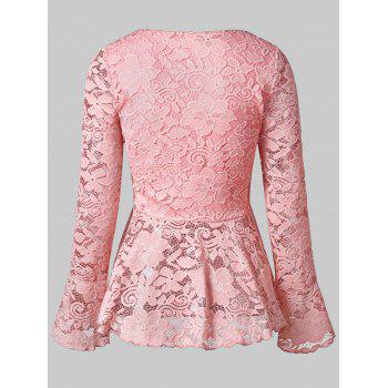 Flare Sleeve Lace Skirted Blouse - PINK M