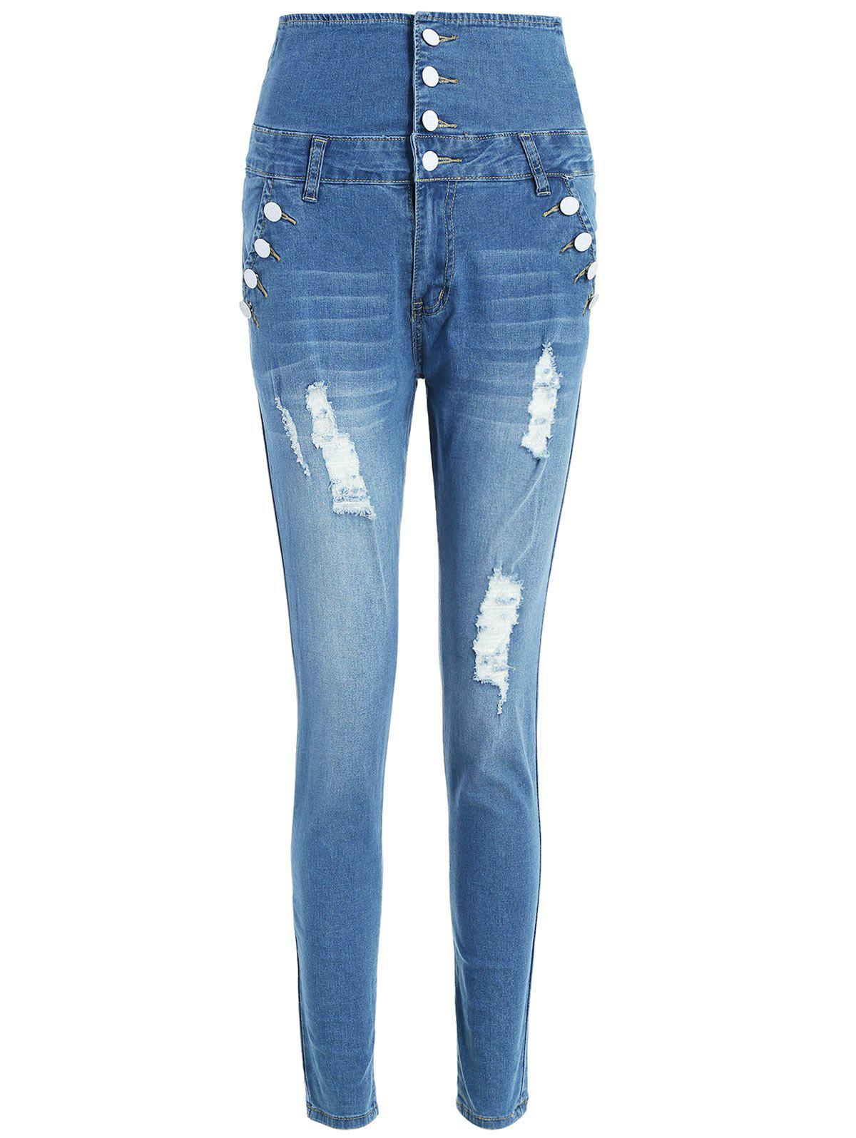 High Waist Slim Fit Distressed Jeans - JEANS BLUE M