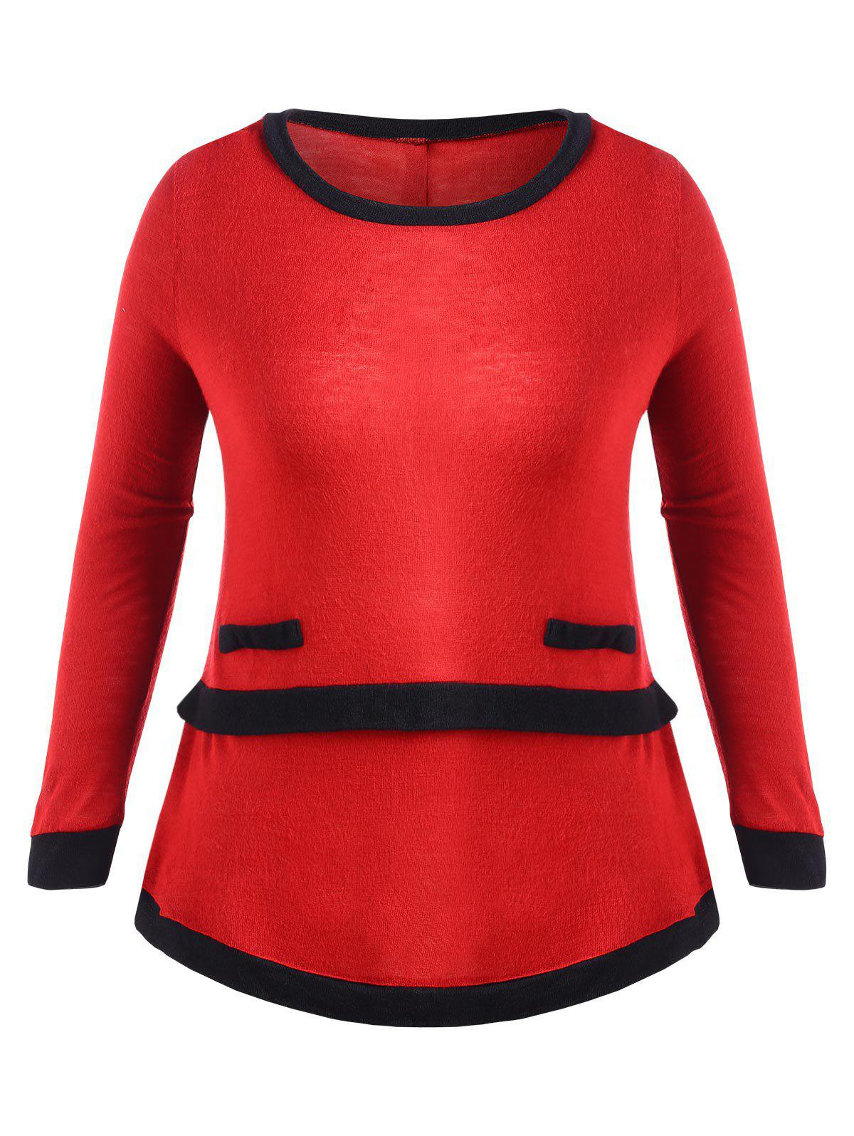 Plus Size Back Button Contrast Trim T-shirt - RED 1X