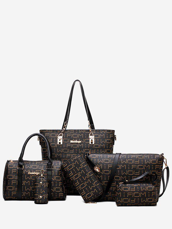 6 Pieces PU Leather Letter Print Handbag Set - BLACK