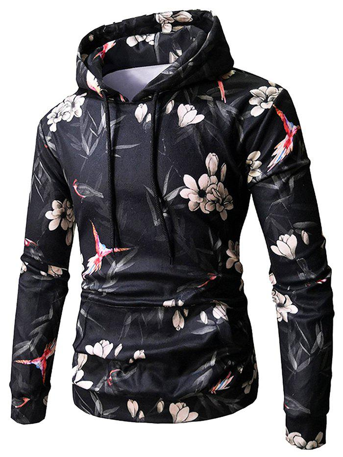 Bird and Flower Print Pullover Hoodie