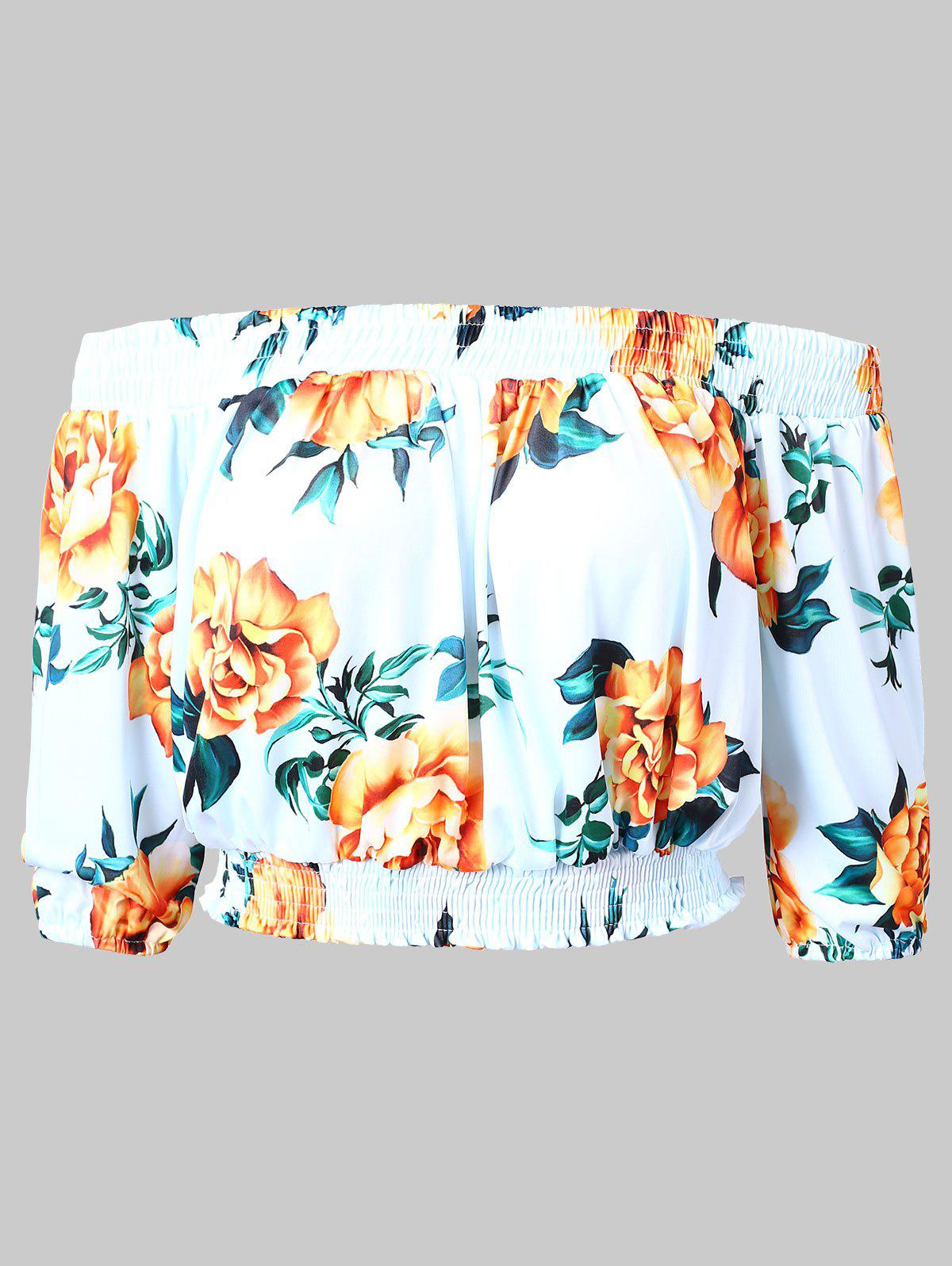 Off Shoulder Floral Cropped Blouse - WHITE L