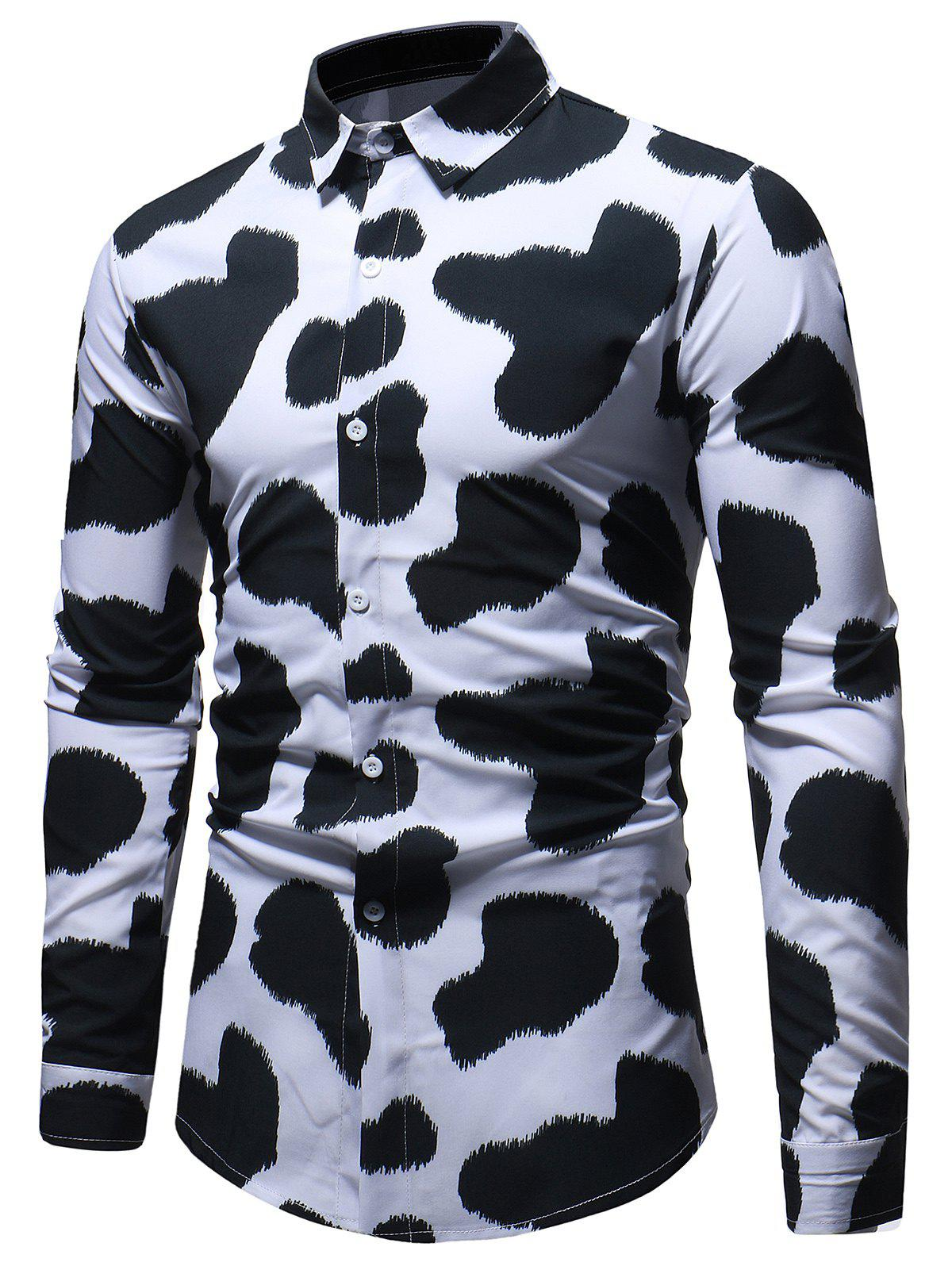 Cow Print Long Sleeve Shirt - WHITE 3XL