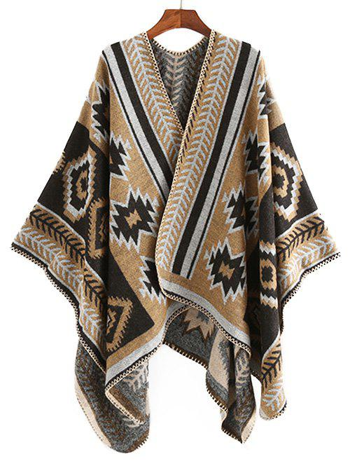 Winter Geometry Printed Wrap Shawl Scarf - TAN
