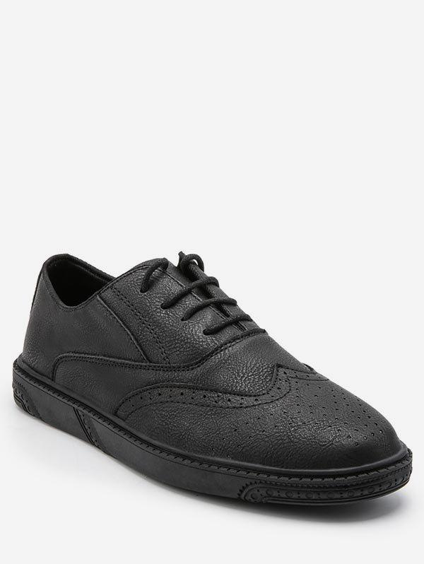 Retro Wing Tip Low Top Business Sneakers - BLACK EU 39