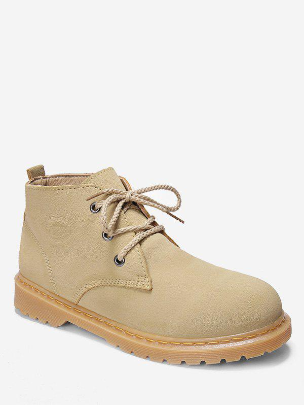 Lace Up Sewing Suede Short Boots - APRICOT EU 42