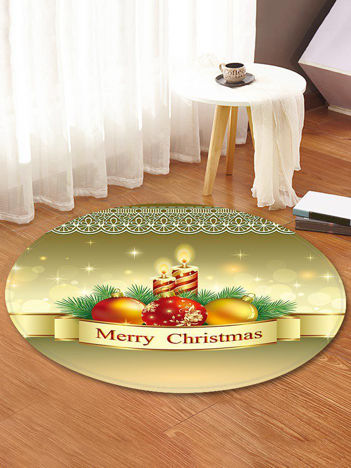 Christmas Candle Printed Decorative Round Floor Rug - FALL LEAF BROWN 120CM (ROUND)