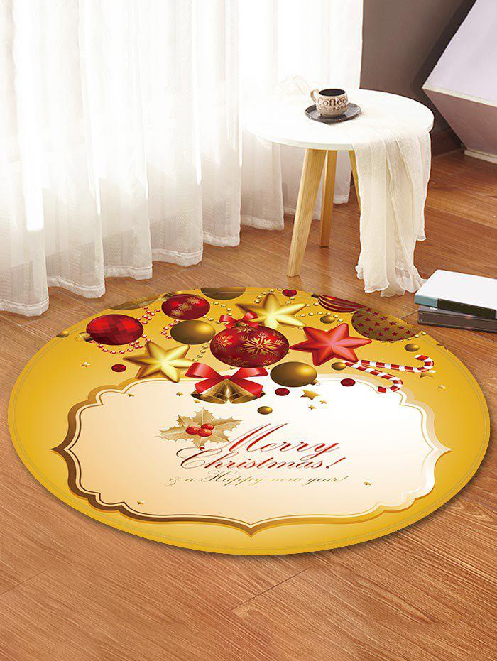Christmas Bell Printed Decorative Round Floor Rug - BEE YELLOW 60CM (ROUND)