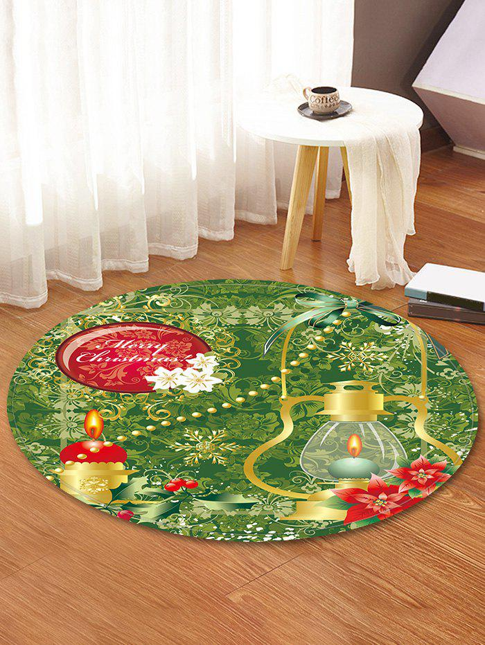 Merry Christmas Candle Pattern Decorative Round Floor Rug - FERN GREEN 80CM (ROUND)