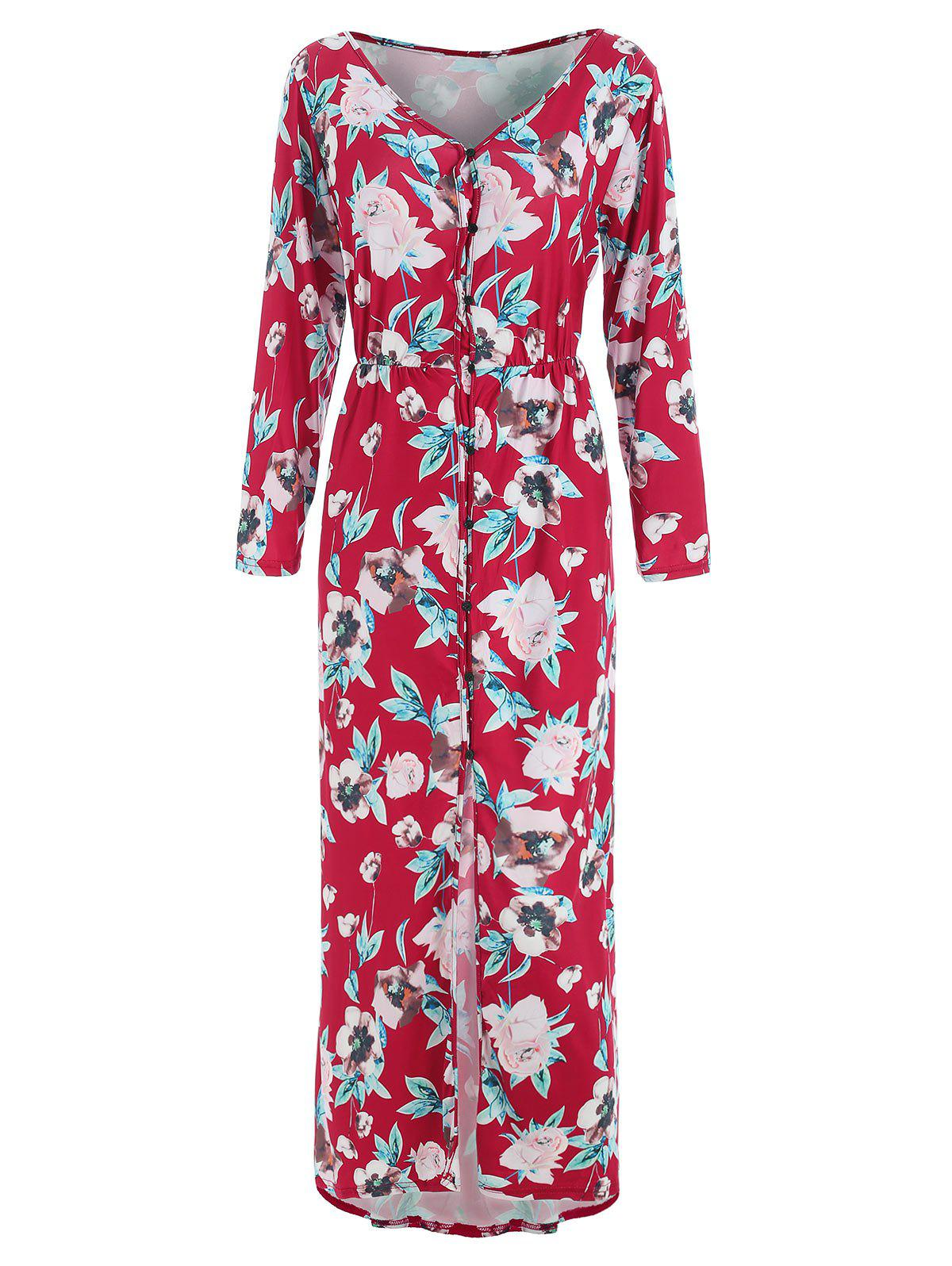 Button Up Floral Dress - RED M