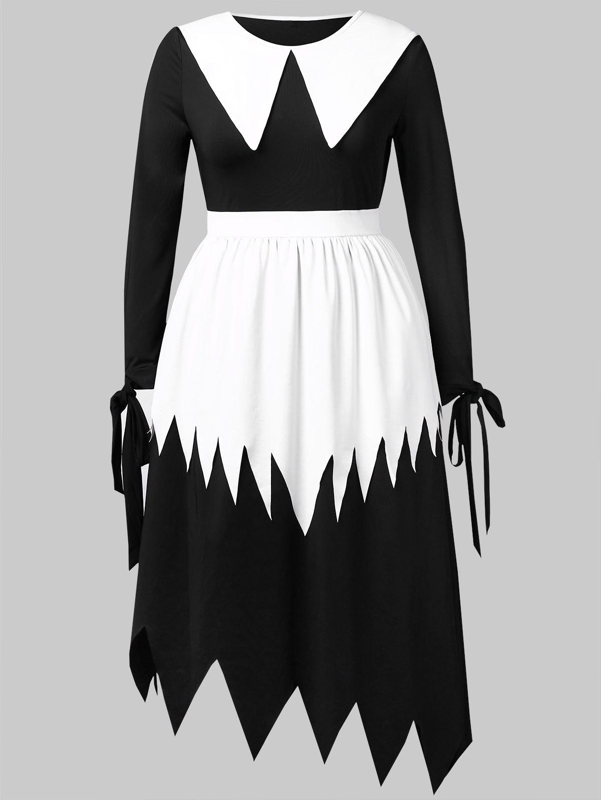 Halloween Plus Size Color Block Maxi Dress
