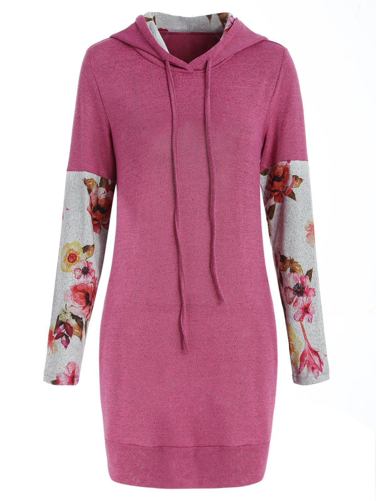 Front Pockets Floral Long Sleeve Hoodie - PINK S