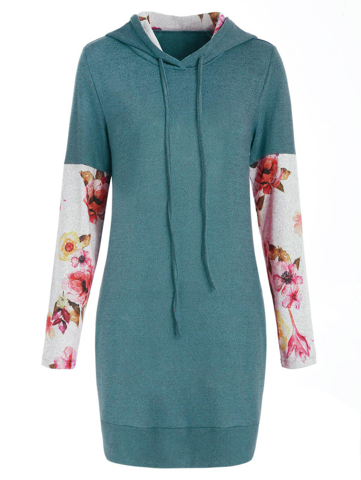 Front Pockets Floral Long Sleeve Hoodie - GREEN S