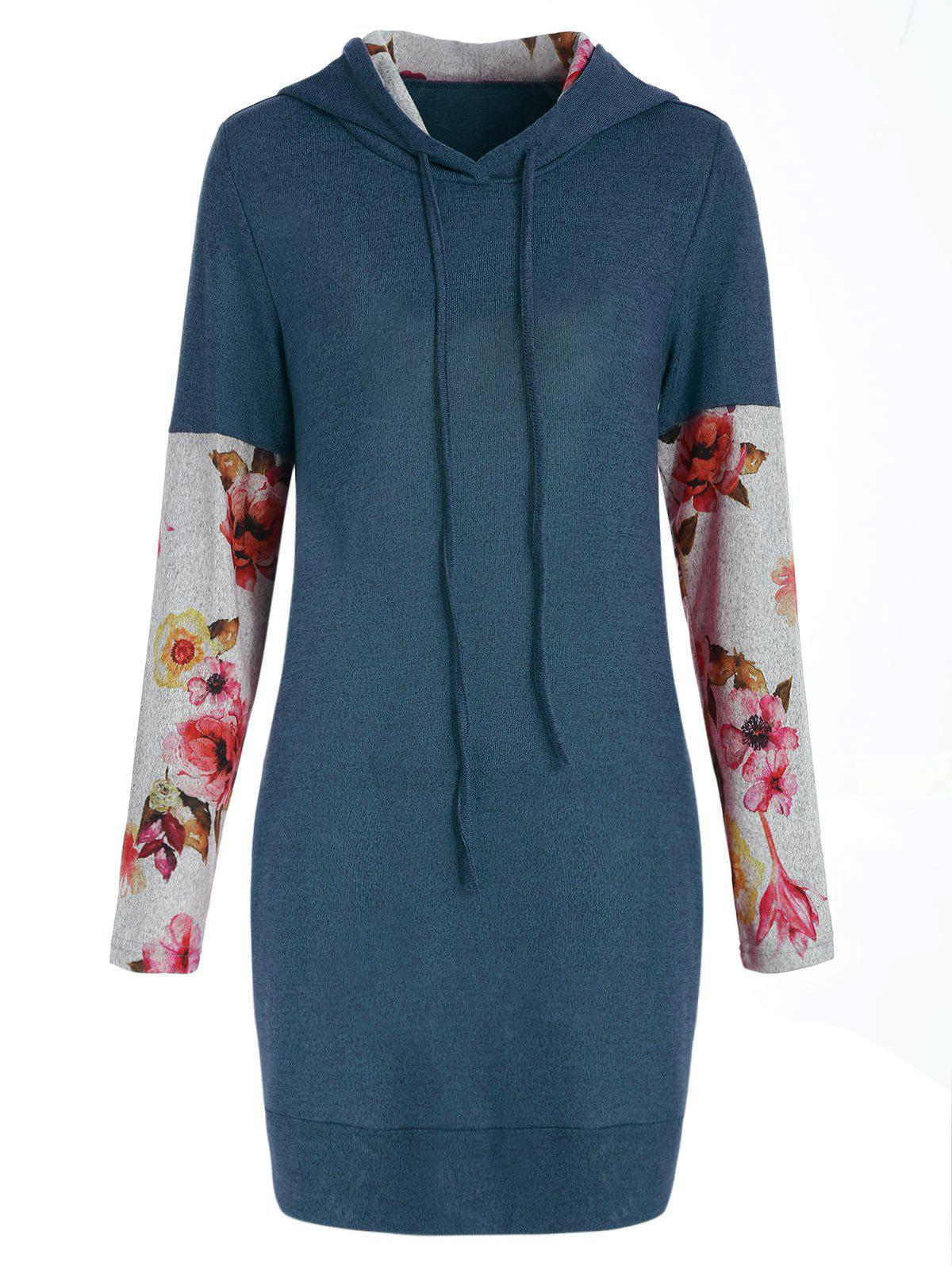 Front Pockets Floral Long Sleeve Hoodie - BLUE L