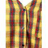 Plus Size Spaghetti Strap Cold Shoulder Plaid Shirt - YELLOW 2X