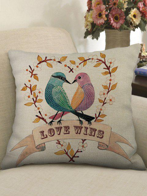 Birds Lover Print Sofa Linen Pillowcase - multicolor W18 X L18 INCH