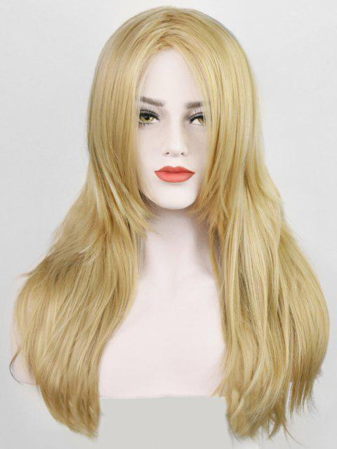 Oblique Bang Layer Long Straight Synthetic Wig - FALL LEAF BROWN