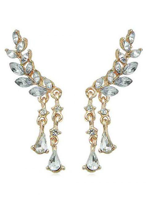 Angel Wing Teardrop Rhinestone Earrings - GOLD
