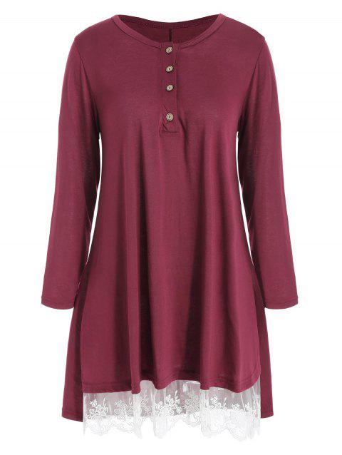 Long Sleeve Lace Hem T-shirt - RED WINE L