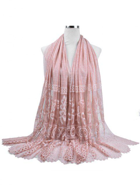 Vintage Floral Lace Holiday Long Scarf - PINK