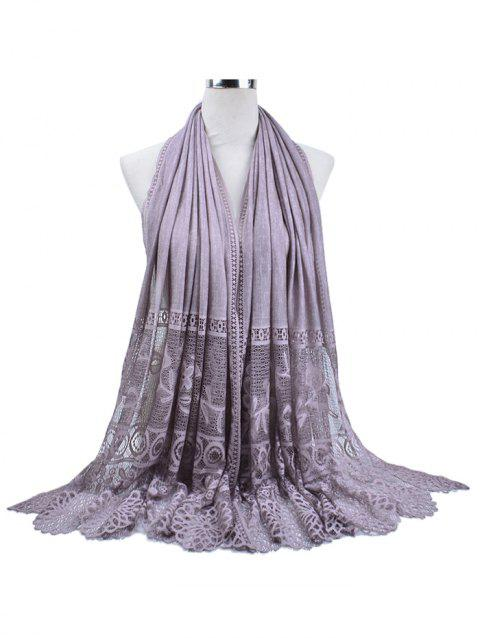 Vintage Floral Lace Holiday Long Scarf - VIOLA PURPLE