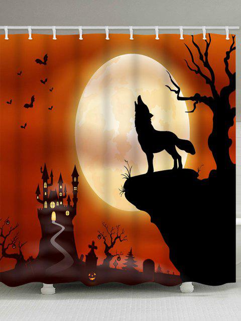 Wolf Moon Print Waterproof Shower Curtain - HALLOWEEN ORANGE W59 X L71 INCH