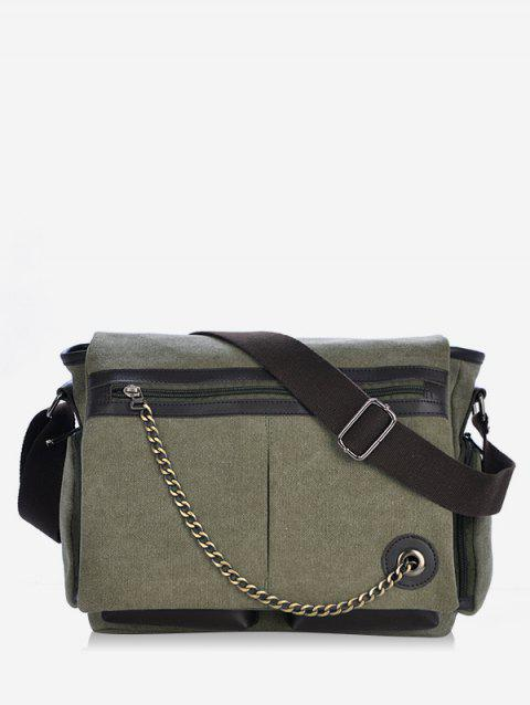 Color Block Chain Embellished Crossbody Bag - CAMOUFLAGE GREEN