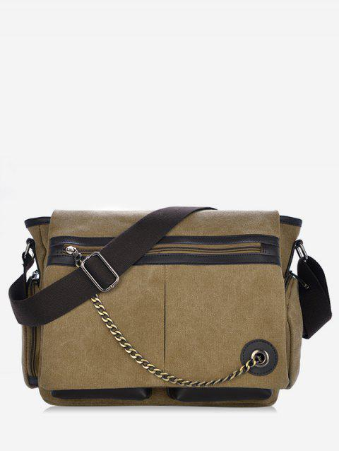 Color Block Chain Embellished Crossbody Bag - LIGHT KHAKI