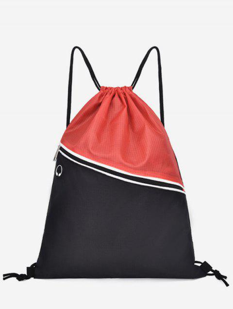 Leisure Beach Color Block String Backpack - RED DIRT