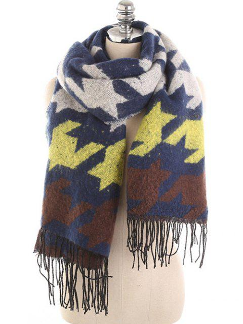 Winter Colored Houndstooth Shawl Scarf - multicolor E