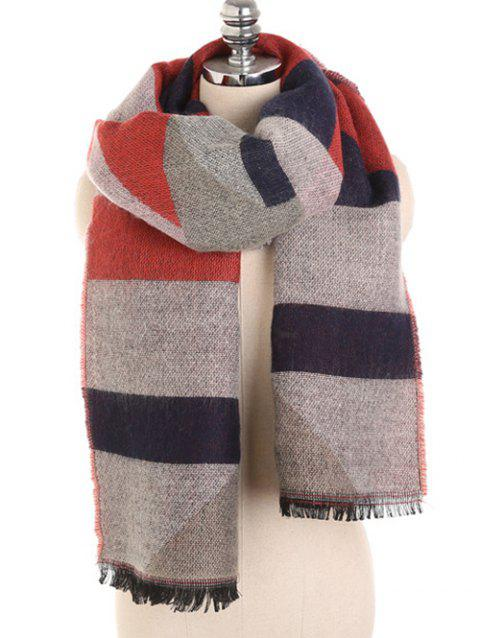 Winter Color Splice Fringed Warm Scarf - multicolor C
