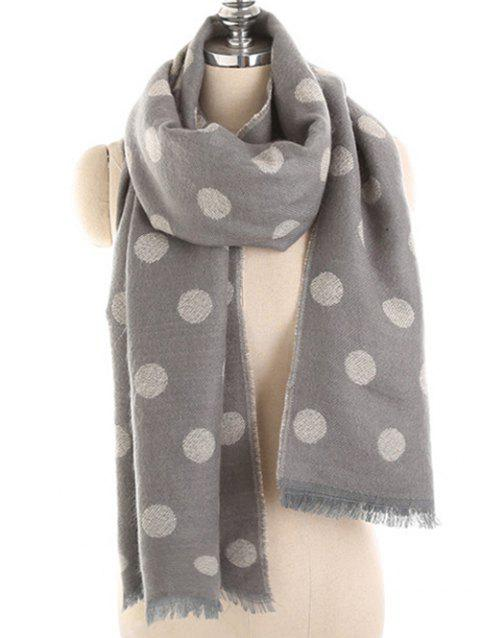 Polka Dot Fringed Long Scarf - DARK GRAY