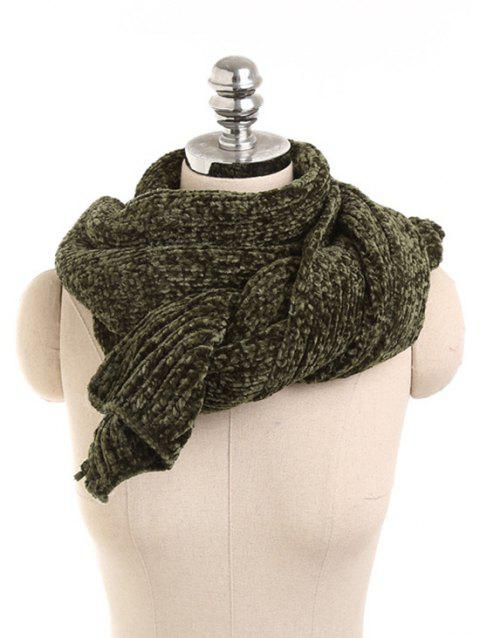 Solid Color Knitted Winter Scarf - ARMY GREEN
