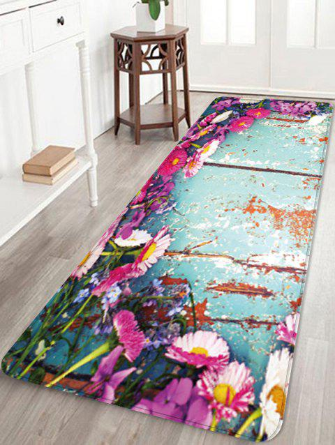 Wood Grain Flowers Pattern Anti-skid Area Rug - multicolor W16 X L47 INCH