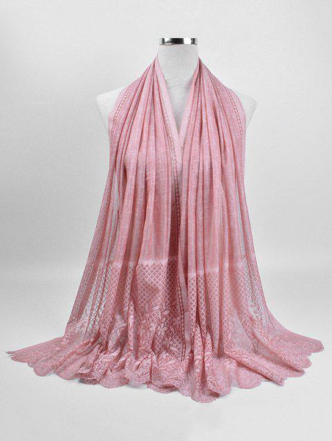 Soft Flower Lace Winter Long Scarf - PINK