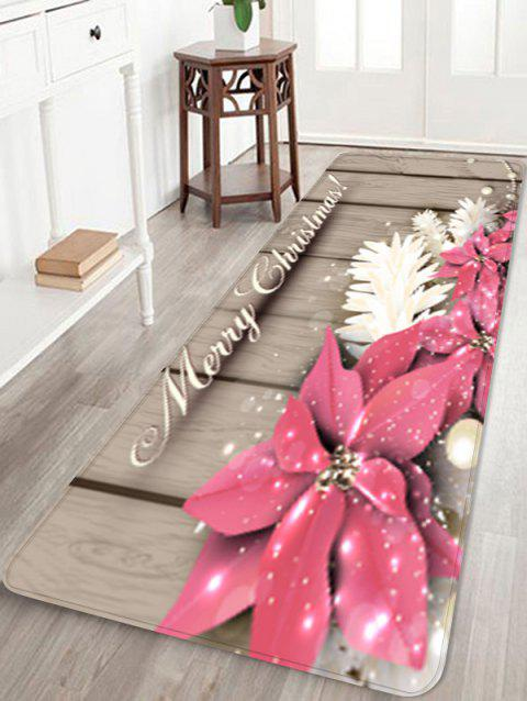 Christmas Flowers Wood Grain Pattern Anti-skid Area Rug - multicolor W16 X L47 INCH