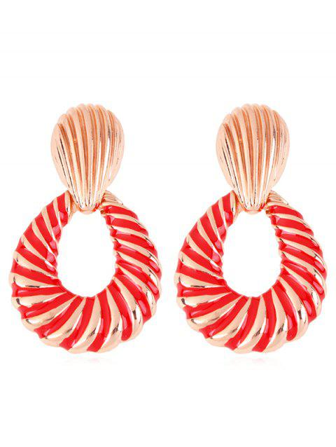 Stylish Striped Water Drop Alloy Earrings - CHESTNUT RED