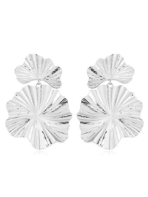 Statement Alloy Leaf Dangle Earrings - SILVER