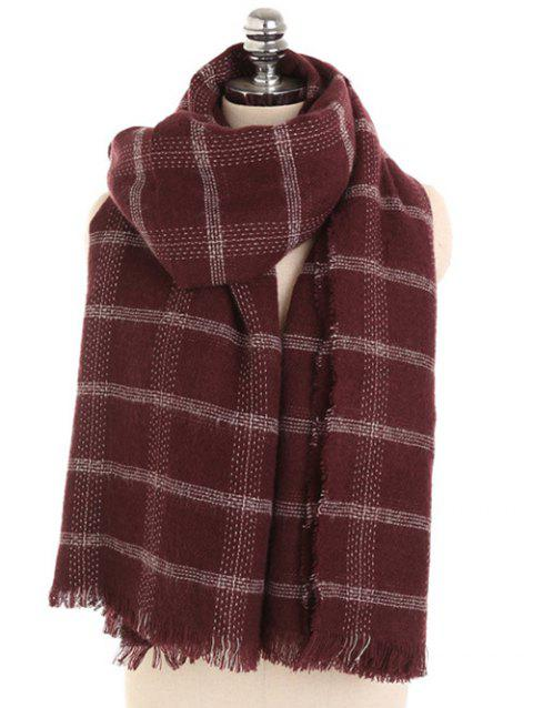Plaid Pattern Fringed Winter Scarf - RED WINE
