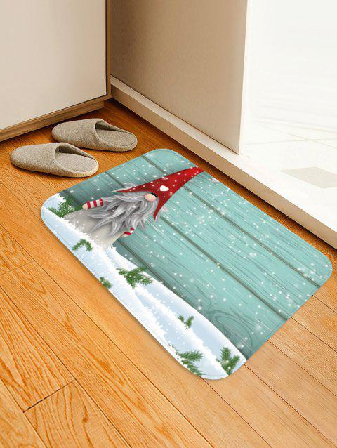Christmas Santa Claus Wood Grain Pattern Anti-slip Area Rug - MEDIUM TURQUOISE W16 X L24 INCH
